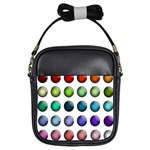 Button Icon About Colorful Shiny Girls Sling Bags Front