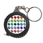 Button Icon About Colorful Shiny Measuring Tapes Front