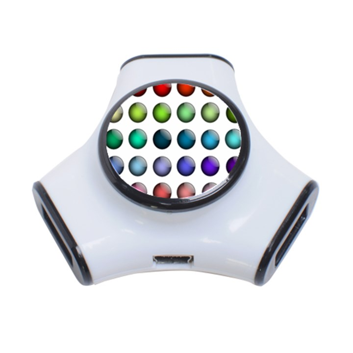 Button Icon About Colorful Shiny 3-Port USB Hub