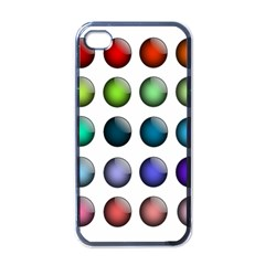 Button Icon About Colorful Shiny Apple iPhone 4 Case (Black)