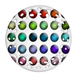 Button Icon About Colorful Shiny Round Filigree Ornament (2Side) Back
