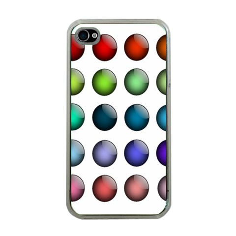 Button Icon About Colorful Shiny Apple iPhone 4 Case (Clear)