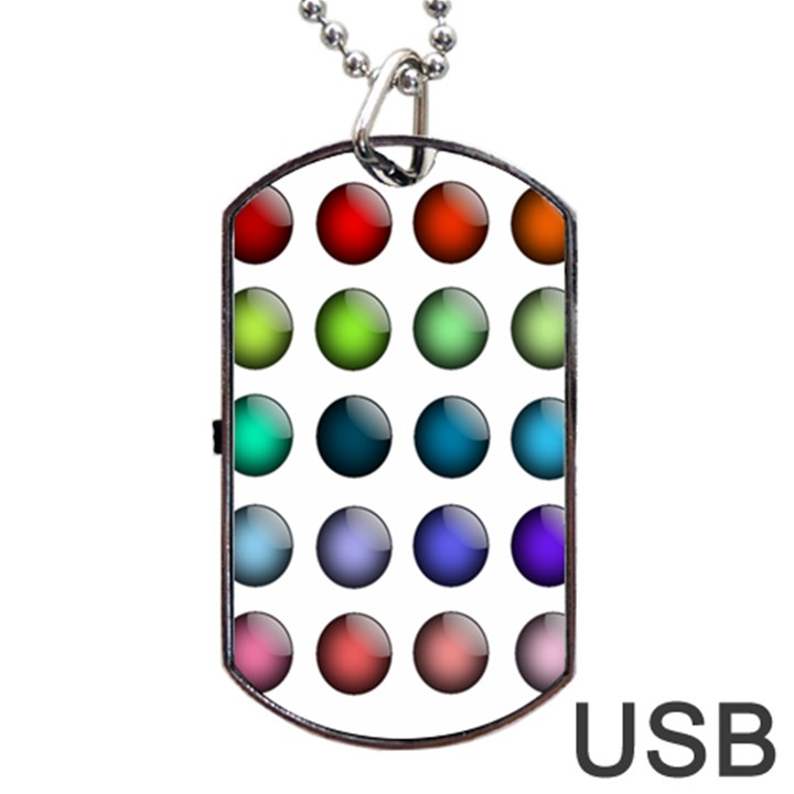 Button Icon About Colorful Shiny Dog Tag USB Flash (Two Sides)