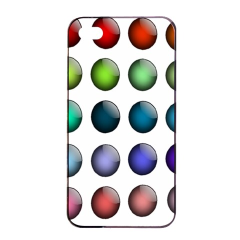 Button Icon About Colorful Shiny Apple iPhone 4/4s Seamless Case (Black)