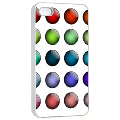 Button Icon About Colorful Shiny Apple iPhone 4/4s Seamless Case (White)