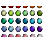 Button Icon About Colorful Shiny Circle 3D Greeting Card (7x5) Back