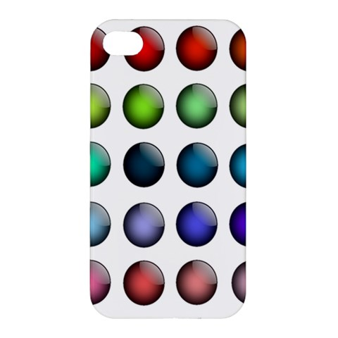 Button Icon About Colorful Shiny Apple iPhone 4/4S Premium Hardshell Case
