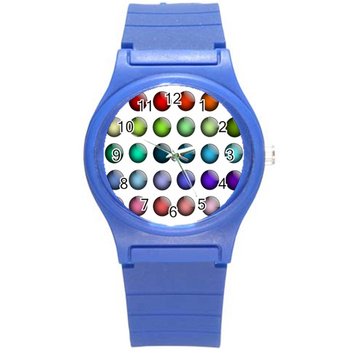 Button Icon About Colorful Shiny Round Plastic Sport Watch (S)