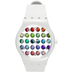 Button Icon About Colorful Shiny Round Plastic Sport Watch (M) Front