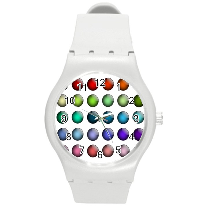 Button Icon About Colorful Shiny Round Plastic Sport Watch (M)