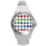 Button Icon About Colorful Shiny Round Plastic Sport Watch (L) Front