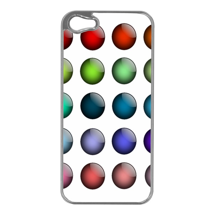 Button Icon About Colorful Shiny Apple iPhone 5 Case (Silver)
