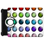Button Icon About Colorful Shiny Kindle Fire HD Flip 360 Case Front