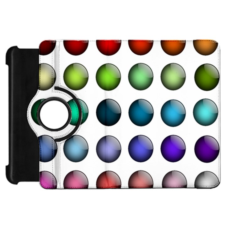 Button Icon About Colorful Shiny Kindle Fire HD Flip 360 Case