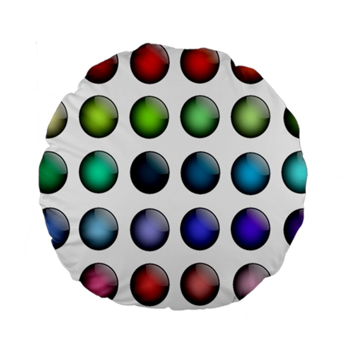 Button Icon About Colorful Shiny Standard 15  Premium Round Cushions