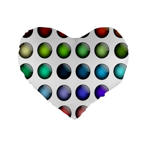 Button Icon About Colorful Shiny Standard 16  Premium Heart Shape Cushions