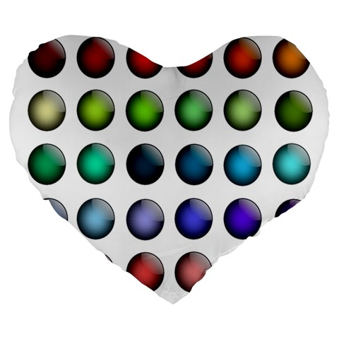 Button Icon About Colorful Shiny Large 19  Premium Heart Shape Cushions