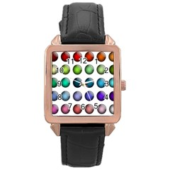 Button Icon About Colorful Shiny Rose Gold Leather Watch