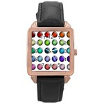Button Icon About Colorful Shiny Rose Gold Leather Watch  Front