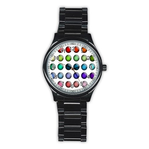 Button Icon About Colorful Shiny Stainless Steel Round Watch