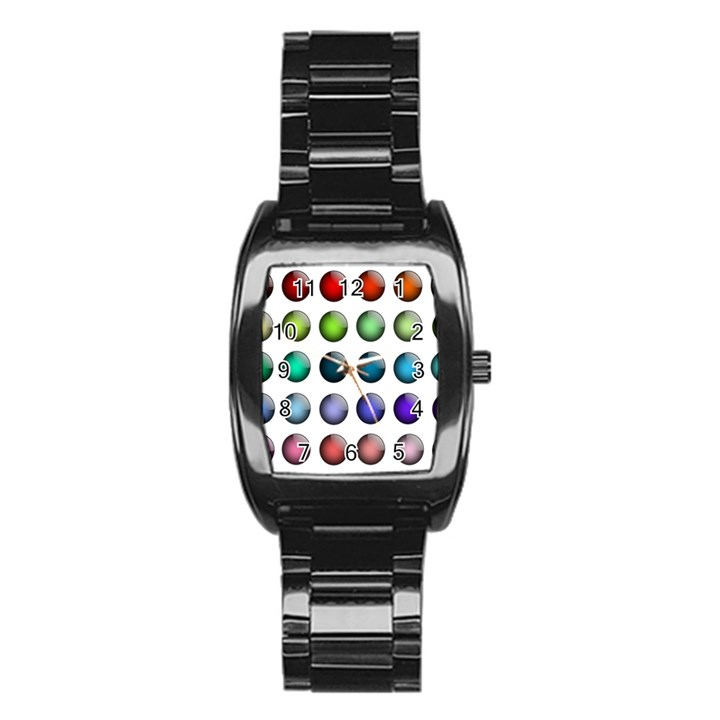 Button Icon About Colorful Shiny Stainless Steel Barrel Watch