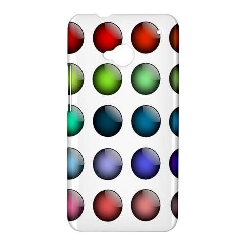 Button Icon About Colorful Shiny HTC One M7 Hardshell Case