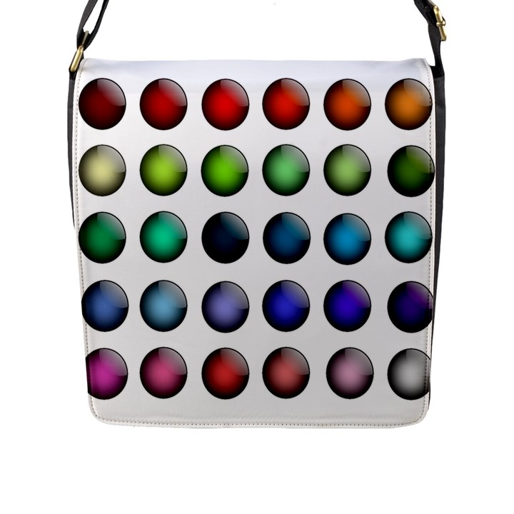 Button Icon About Colorful Shiny Flap Messenger Bag (L)