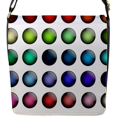 Button Icon About Colorful Shiny Flap Messenger Bag (S)