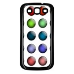 Button Icon About Colorful Shiny Samsung Galaxy S3 Back Case (Black) Front