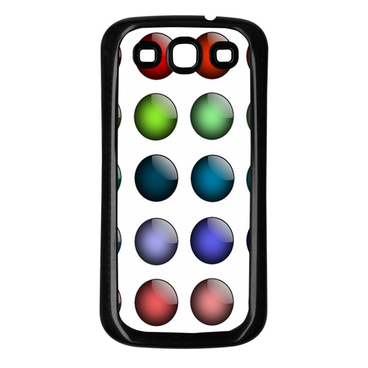 Button Icon About Colorful Shiny Samsung Galaxy S3 Back Case (Black)