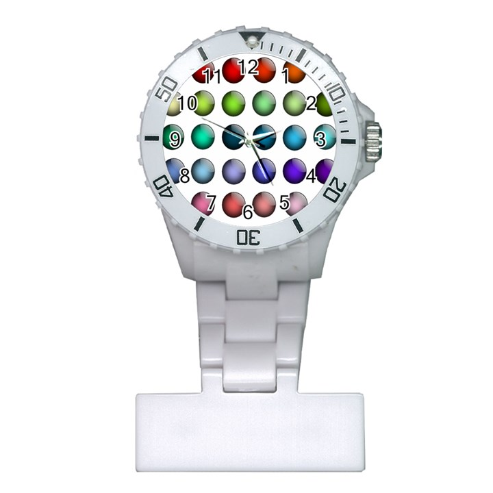 Button Icon About Colorful Shiny Plastic Nurses Watch
