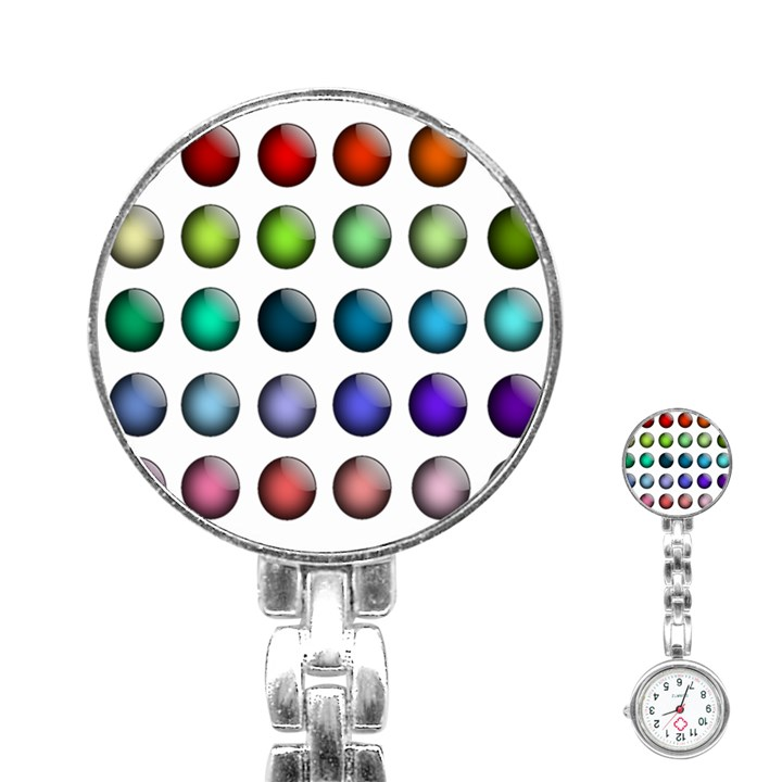 Button Icon About Colorful Shiny Stainless Steel Nurses Watch