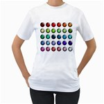 Button Icon About Colorful Shiny Women s T-Shirt (White)  Front
