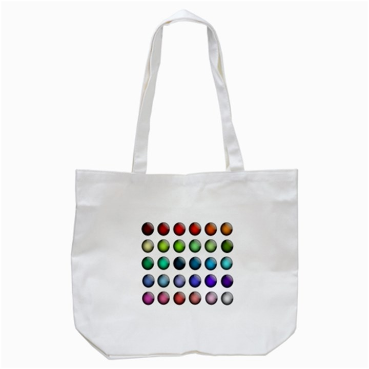 Button Icon About Colorful Shiny Tote Bag (White)