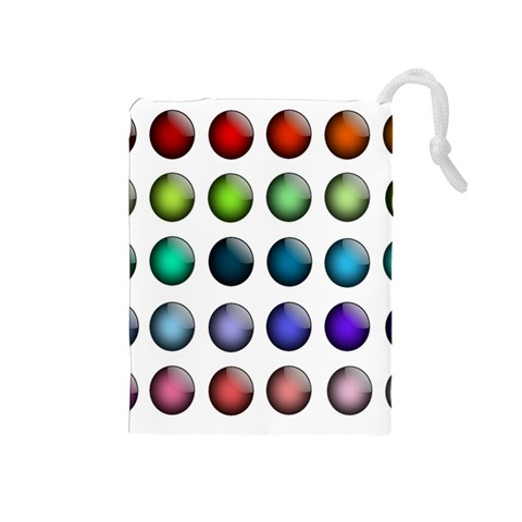 Button Icon About Colorful Shiny Drawstring Pouches (Medium)