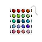 Button Icon About Colorful Shiny Drawstring Pouches (Medium)  Front