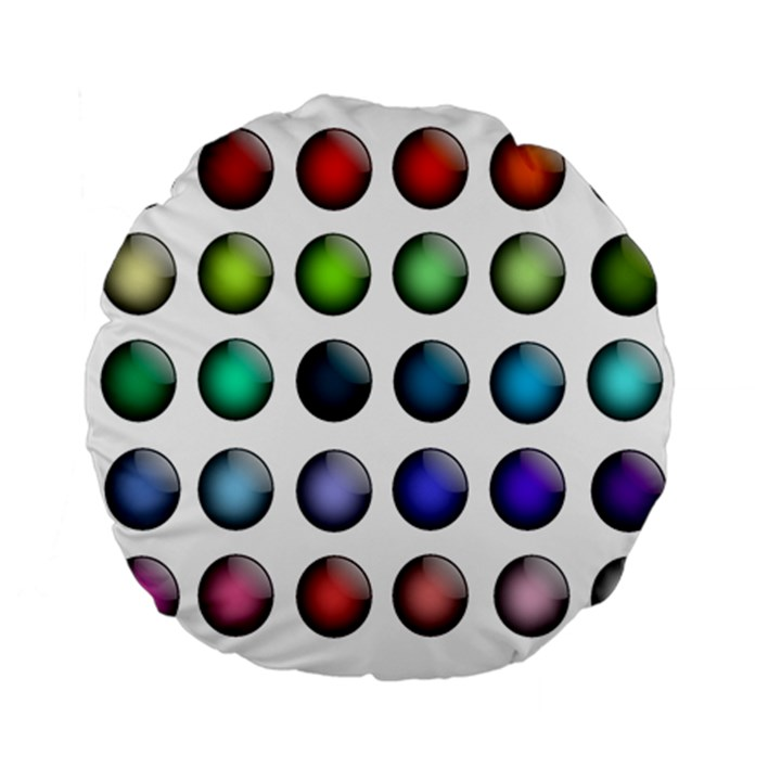 Button Icon About Colorful Shiny Standard 15  Premium Flano Round Cushions