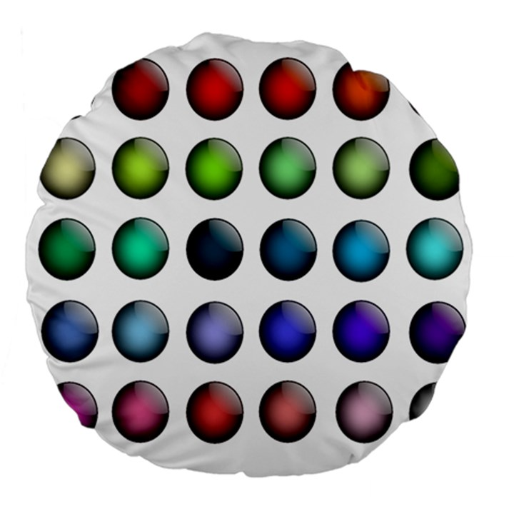 Button Icon About Colorful Shiny Large 18  Premium Flano Round Cushions
