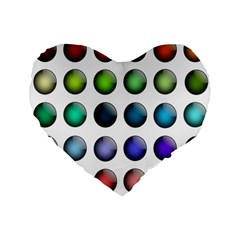 Button Icon About Colorful Shiny Standard 16  Premium Flano Heart Shape Cushions