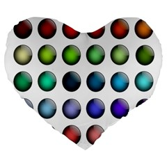 Button Icon About Colorful Shiny Large 19  Premium Flano Heart Shape Cushions