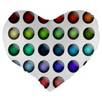 Button Icon About Colorful Shiny Large 19  Premium Flano Heart Shape Cushions Back