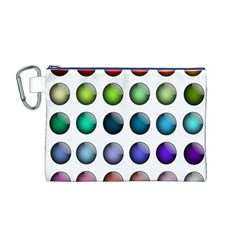 Button Icon About Colorful Shiny Canvas Cosmetic Bag (M)