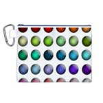 Button Icon About Colorful Shiny Canvas Cosmetic Bag (L) Front