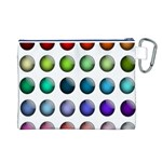 Button Icon About Colorful Shiny Canvas Cosmetic Bag (L) Back
