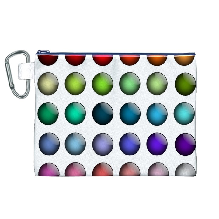Button Icon About Colorful Shiny Canvas Cosmetic Bag (XL)