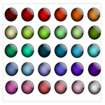 Button Icon About Colorful Shiny Large Satin Scarf (Square) Front