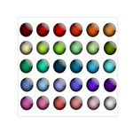 Button Icon About Colorful Shiny Small Satin Scarf (Square) Front