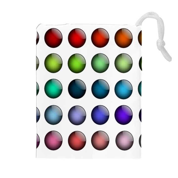 Button Icon About Colorful Shiny Drawstring Pouches (Extra Large)