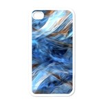 Blue Colorful Abstract Design  Apple iPhone 4 Case (White) Front
