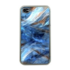 Blue Colorful Abstract Design  Apple Iphone 4 Case (clear)